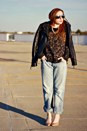faux leather jacket - boyfriend jeans - sweater