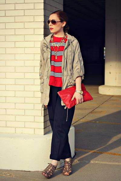 anorak jacket - navy pants - stripes sweatshirt