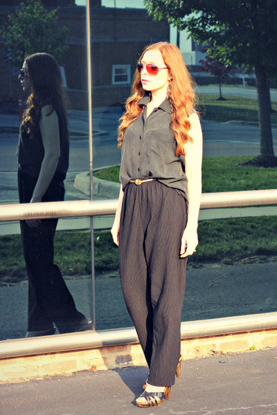 black pants - black silk shirt - vintage earrings - gold vintage belt