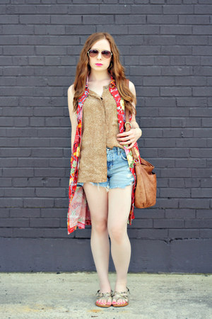 worn as vest dress - bag - denim shorts - top