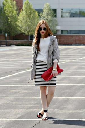 Loft jacket - cream sweater - striped skirt