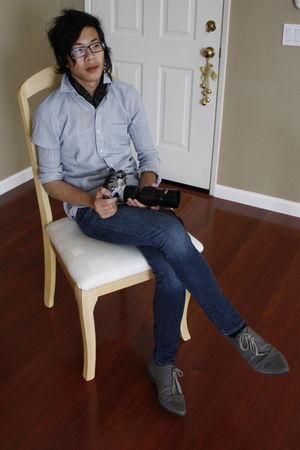 blue sparrow shirt - black scarf - blue Refuge jeans - gray H&M shoes