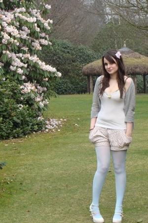moth sweater - H&M top - Topshop shorts - Miss Selfridge tights - Topshop shoes