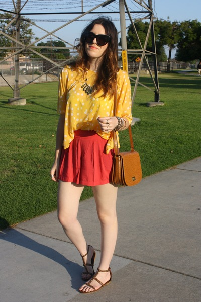 TJ Maxx bag - red Forever21 shorts - yellow H&M top - Forever 21 sandals