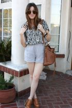 G-Stage blouse - Nordstrom Rack shorts - Jeffrey Campbell shoes - Aldo purse