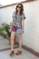 G-Stage blouse - f21 shorts - Jeffrey Campbell shoes - vintage purse