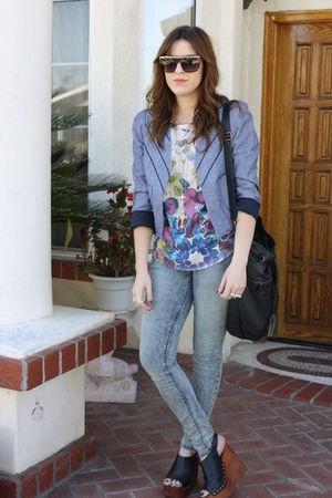 Urban Outfitters jacket - Lush blouse - Urban Outfitters jeans - Jeffrey Campbel