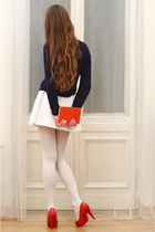 navy Solar sweater - white tights - red Toria Blanic pumps - white nike skirt