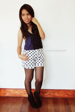 black wedge style online boots - white dotted from bangkok shorts - navy lace Fo