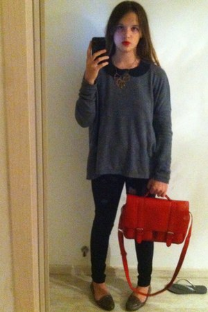 H&M bag - Bershka jeans - H&M sweater - Topshop shirt