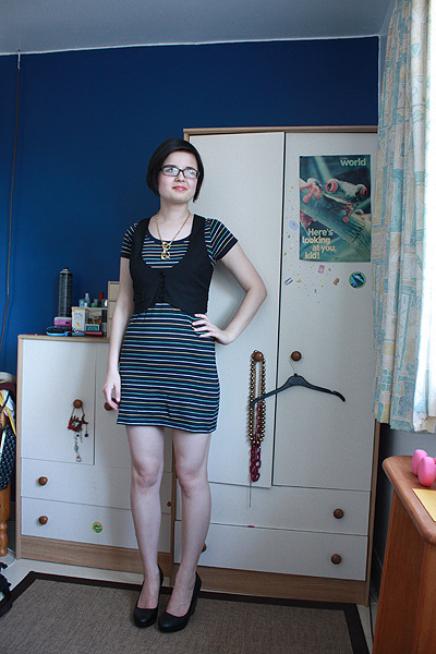 new look dress - Miss Selfridge vest - H&M shoes - Urban Outfitters necklace