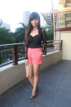 high waisted landmark shorts - peep toe Filgiarina shoes - lace beaded OASAP top