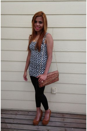 brown bag - black tribal Forever 21 top - light orange wedge Aldo pumps