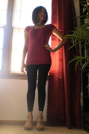 pink Forever21 top - black Mossimo tights - beige shoes