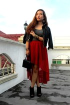 crimson hi-low romwe skirt - black peep-toe Forever 21 boots