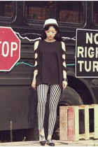 Cutout Sweat Shirt, Black and White Punk Look by ARTFITSHOP