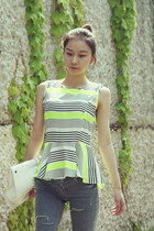 CENCION striped peplum blouse