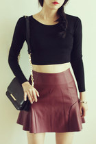fera flared leather skirt