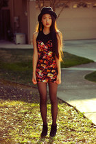 floral Motel Rocks dress - fedora Forever 21 hat