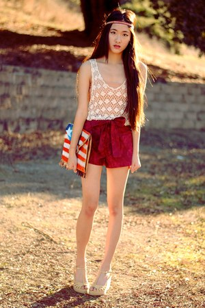 DIY bag - high waisted handmade shorts - crochet vintage top