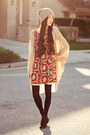 Red-printed-the-editors-market-dress-tan-beanie-2020ave-hat