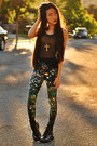 Black-patent-combat-target-boots-wasteland-leggings-snupped-bag