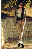 olive green military abercrombie and fitch jacket - swan H&M top