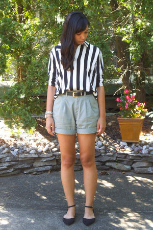 dark gray belt - olive green shorts - black stripes H&M blouse
