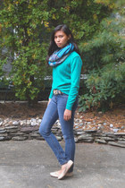 teal Old Navy sweater - sky blue H&M scarf - tan Payless flats