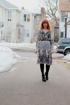 vintage dress - black Target tights - black Dolce Vita clogs - black thrifted be