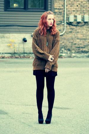 black dress - brown thrifted vintage sweater - black Target tights