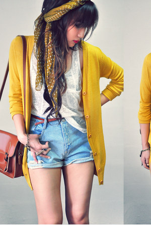 mustard cardigan - light blue shorts - off white top - maroon wedges