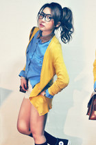 mustard cardigan - sky blue shirt - off white shorts - brown accessories