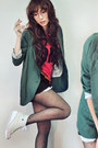 Teal-blazer-ruby-red-shirt-black-shorts-dark-brown-belt-eggshell-sneaker