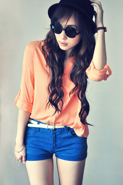 light orange blouse - navy vintage-diy shorts - ivory belt