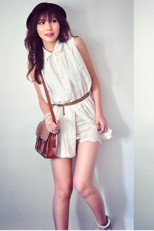 crimson bag - ivory dress - tan AUKOALA sandals