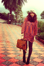 Silver-hat-carrot-orange-sweater-coral-sweater-purple-sweater-brown-bag