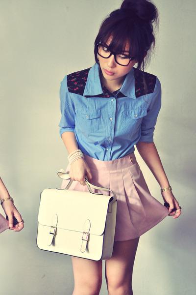 off white bag - light pink skirt - sky blue blouse - ruby red blouse