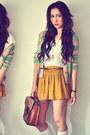 Ivory-shirt-dark-brown-bag-aquamarine-cardigan-mustard-skirt