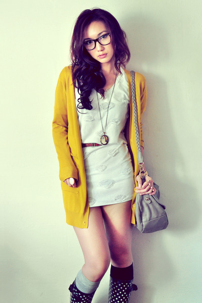 black boots - white dress - silver bag - dark brown belt - mustard cardigan