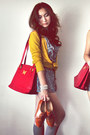 Brown-shoes-navy-dress-off-white-dress-ruby-red-bag-heather-gray-socks-