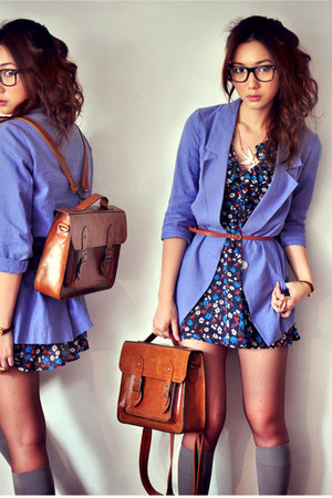salmon dress - off white dress - navy dress - violet blazer - dark brown bag - h