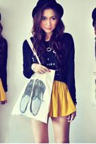 black shirt - eggshell bag - mustard skirt