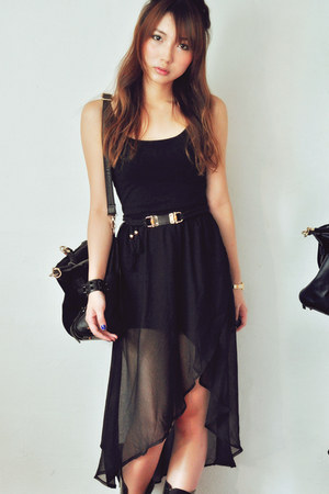 black skirt - gold belt