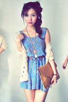 beige cardigan - salmon dress - sky blue dress - mustard bag