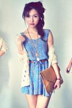beige cardigan - salmon dress - sky blue dress - mustard bag