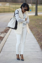ivory Lulus vest - white Old Navy jeans - black Christian Louboutin heels