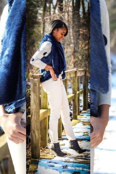 navy Nordstrom vest - silver J Crew sweater - beige Old Navy pants
