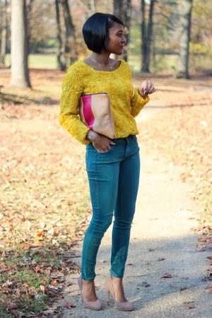 mustard She Inside jumper - dark green H&M pants