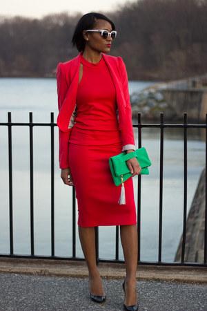 red Lulus dress - red H&M blazer